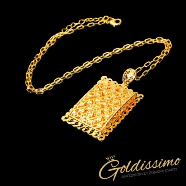 Pozlátená retiazka 24 karátovým zlatom s príveskom Angola 85304382496